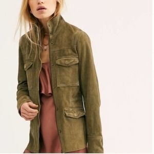 Free People Green Suede Kimberly Jacket XS